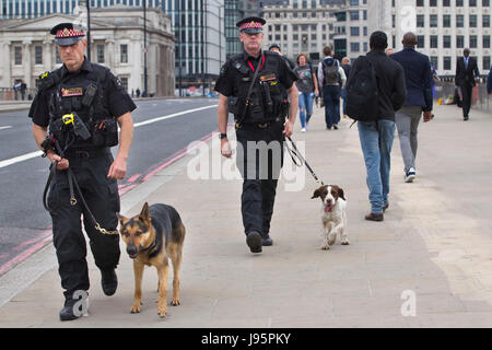 London Bridge, London, UK. 5th Jun, 2017.Metropolitan Police Dogs team on the London Bridge after the road is closed - Stock Photo