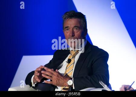 Madrid, Spain. 5th Jun, 2017. Former NATO Secretary Anders Fogh Rasmussen during the 2017 Atlantic Week, in Madrid, - Stock Photo