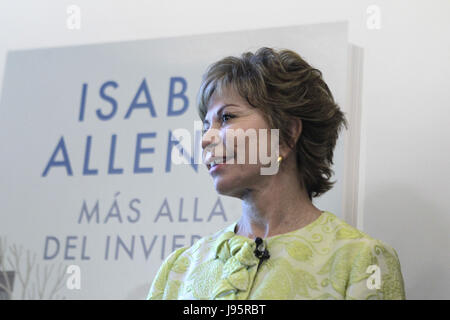 Chilean writer Isabel Allende poses during an interview with Spanish News Agency EFE held in Madrid, Spain on 05 - Stock Photo