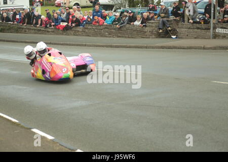 Ramsey, UK. 5th Jun, 2017. Isle of Man TT Races, Sure Sidecar Race. Number 9, Steve Ramsden and Matty Ramsdenon - Stock Photo