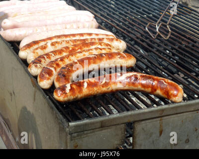 Thuringian rostbratwurst sausages on a charcoal grill in Freyburg, Germany, 1 May 2017.   - NO WIRE SERVICE - Photo: - Stock Photo