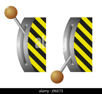 object, isolated, industry, switch, up, on, lever, off, pictogram, symbol, - Stock Photo