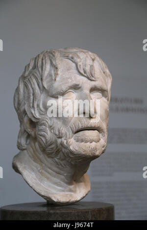 Head of an old man, perhaps, Hesiod ( Greek poet active c. 750-650 BC. )Bust. Roman copy. British Museum. London. - Stock Photo