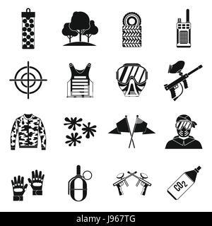 Paintball icons set, simple style - Stock Photo