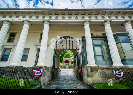 The entrance to Laurel Hill Cemetery, in Philadelphia, Pennsylvania. - Stock Photo