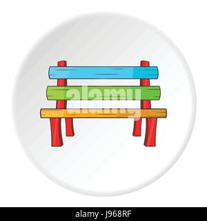 Bench icon, cartoon style - Stock Photo