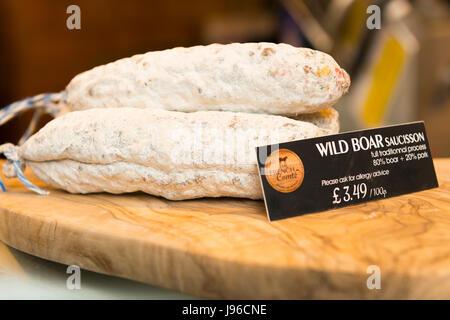 Borough Market London stylish upmarket food Wild Boar Saucisson Sausage charcuterie - Stock Photo