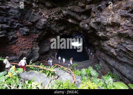 Jameos del Agua, Lanzarote, - Caves in Lanzarote adapted by artist Cesar Manrique; Lanzarote, Canary Islands Europe - Stock Photo