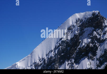 mountaineering am dom in switzerland - saas fee - Stock Photo