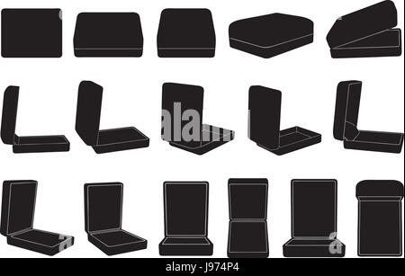 Set of different ring boxes isolated on white - Stock Photo