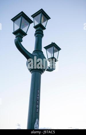 Street light on the Tyne bridge Newcastle England uk - Stock Photo