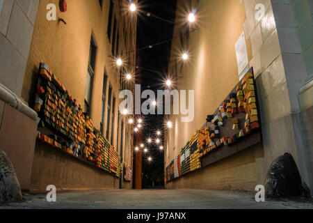 Downtown Chattanooga City Night Creative Art Alley - Stock Photo