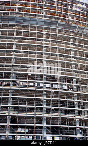 scaffold, scaffolding, working, building, construction, blue, house, building, - Stock Photo