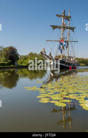 Tall Ship on the Sharpness Canal in Gloucestershire - Stock Photo