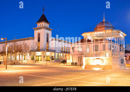 Sao Joao Cinema dating from 1952 and the Bandstand of Palmela, dated back to 1927, at dusk. Portugal - Stock Photo