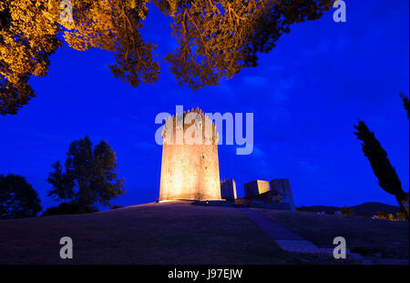 The medieval castle of Montalegre at sunset, dating back to the 13th century. Tras os Montes, Portugal - Stock Photo
