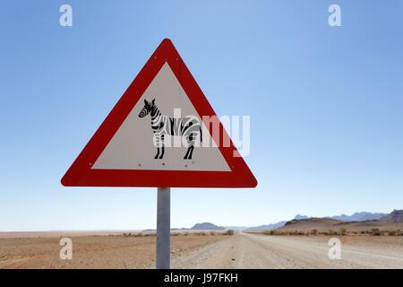 Road sign zebra ahead, Namibia. - Stock Photo