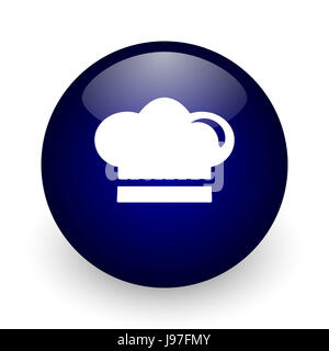 Cook blue glossy ball web icon on white background. Round 3d render button. - Stock Photo
