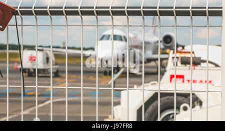 Nantes, FRANCE - April 27, 2017 ; A plane of the company 'hop' is in maintenance on the tarmac of the airport of - Stock Photo