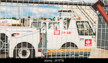 Nantes, FRANCE - April 27, 2017 ; Baggage tractors of the GH TEAM, an international company specializing in the - Stock Photo