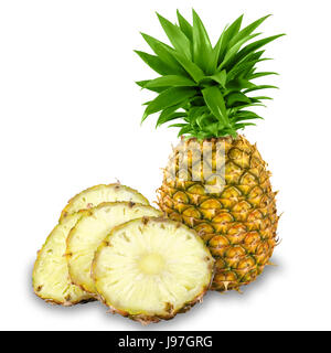 Fresh Yellow Organic whole Pineapple and cut into slices, Isolated against a bright white colored background. - Stock Photo