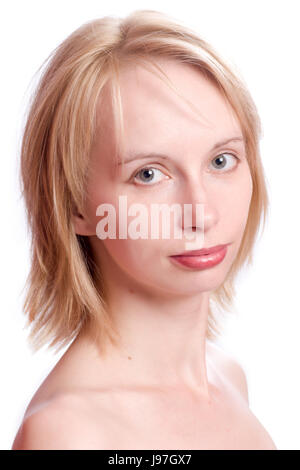 Beautiful young woman with blond hair isolated on white - Stock Photo