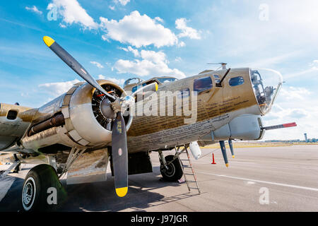 Restored WWII bomber, a B-17 Flying Fortress, on static display at the Montgomery, Alabama Airport, part of a a - Stock Photo