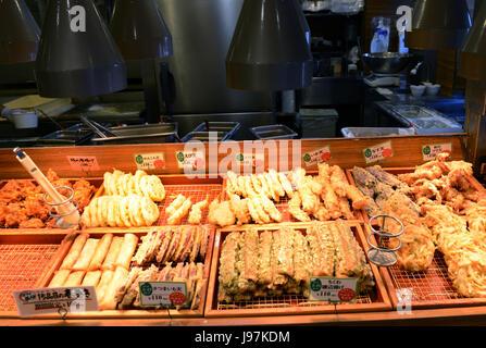 A selection of Tempura items in a Tempura restaurant in Tokyo. - Stock Photo