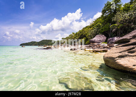 Idyllic Bai Sao beach, which means white sand, in the popular Phu Quoc island in the Gulf of Thailand in south Vietnam - Stock Photo