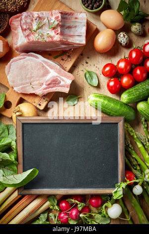 various fresh raw products, top view - Stock Photo