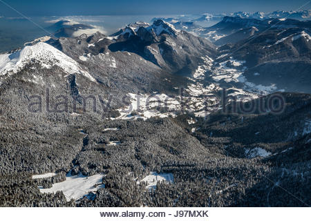 Aerial view of Chartreuse mountain range and natural park near Grenoble in winter - Stock Photo