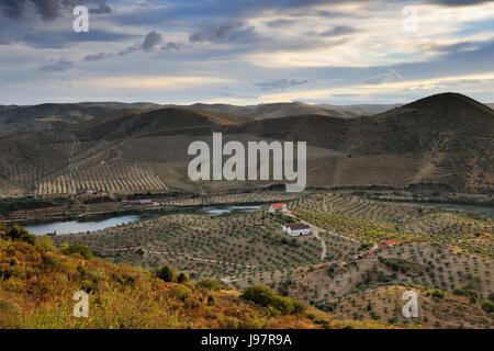 The Douro river near Barca d' Alva, Alto Douro. Portugal - Stock Photo