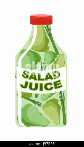 Salad juice. Juice from fresh vegetables. Lettuce in a transparent bottle. Vitamin drink for healthy eating. Vector - Stock Photo