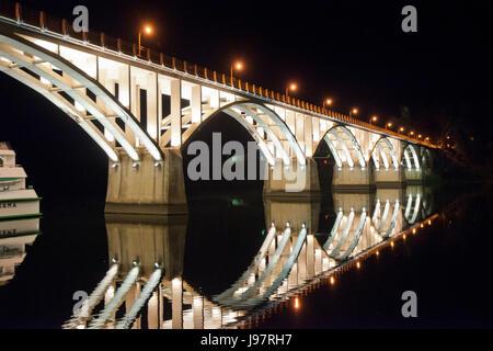 Bridge of Barca d'Alva over the Douro river, designed by Edgar Cardoso. Portugal - Stock Photo