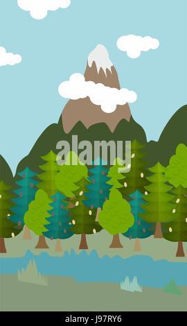 natural landscape cartoon background vector illustration - Stock Photo