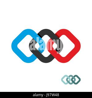 Connection of three squares. Design element for Logo of squares. Logo for  business template. - Stock Photo
