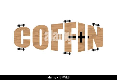 Text in form of coffin.  Logo emblem for the funeral Agency. Vector illustration - Stock Photo