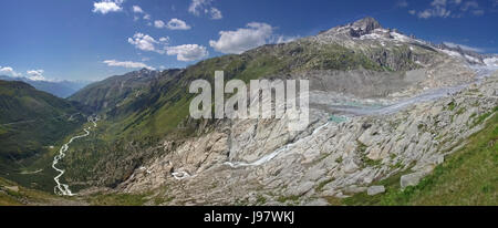 The Rhône Glacier: the source of the river (Panorama) - Stock Photo