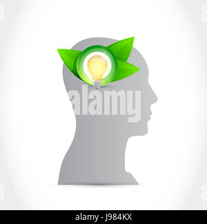 think green mind concept illustration design over a white background - Stock Photo