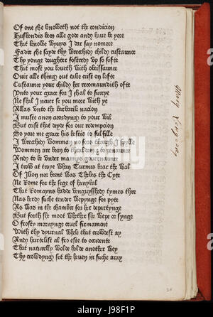 Page from The Canterbury Tales by Geoffrey Chaucer printed by William Caxton 1477 - Stock Photo