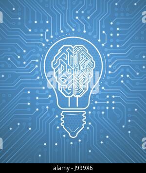 Creative Cybernetic Brain Stock Photo