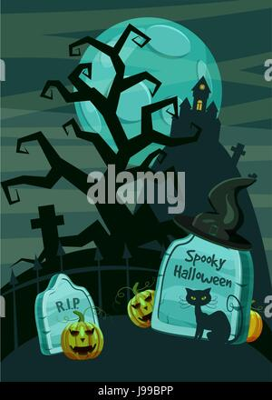 Halloween spooky cemetery concept, cartoon style - Stock Photo