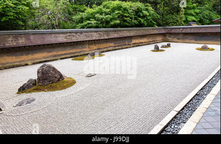 Vew ofJjapanese zen garden of Ryoan-ji temple in Kyoto - Stock Photo