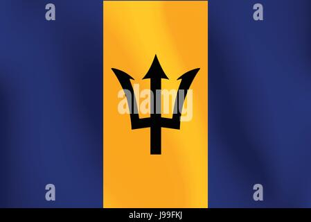 Flag of Barbados with a little Waving, Shading & Flag Colors separated layers - Vector Illustration - Stock Photo