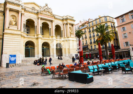 Overlooking Place Victor Hugo, Opera de Toulon is France's largest opera house outside of Paris.  It was designed - Stock Photo