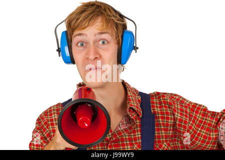 Young handcrafter with megaphone isoladet on white background - Stock Photo