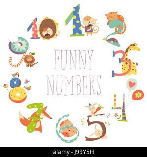 Cartoon Set Illustration of Birthday Anniversary Numbers with Funny Animals - Stock Photo