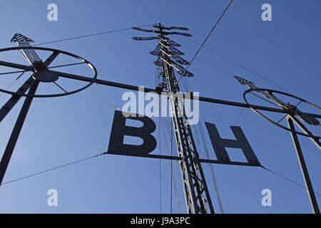 fog, wind force, semaphore, sign, signal, fog, water, north sea, salt water, - Stock Photo