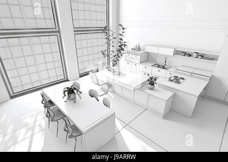 Fresh clean white kitchen and dining area with monochromatic decor, fitted cabinets and appliances and a modern - Stock Photo