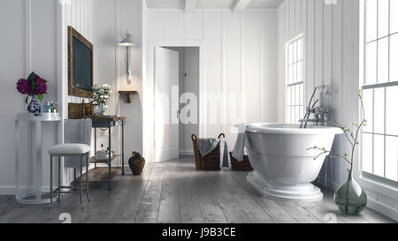 Trendy rustic bathroom with stylish boat-shaped freestanding bathtub in front of two bright windows and old wood - Stock Photo